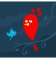 Cartoon bird on branch vector image vector image