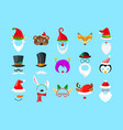 christmas masks on blue background vector image vector image