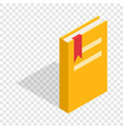 closed yellow book with a bookmark isometric icon vector image vector image