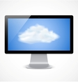 Computer display with cloud icon vector image vector image