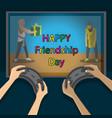 congratulations international friendship day hand vector image vector image