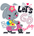 cute rabbit wearing flower on head riding scooter vector image vector image