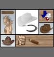 designer set for cowboy vector image vector image