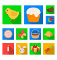 easter is a christian holiday flat icons in set vector image vector image