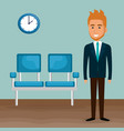 elegant businessman in the waiting room vector image