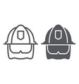 firefighter helmet line and glyph icon equipment vector image vector image