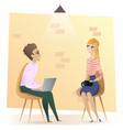 freelancer sitting in modern coworking open space vector image vector image