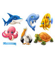 funny sea animals and fishes 3d icon set vector image