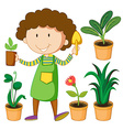 Gardener with potted plants vector image vector image