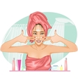 Girl applying cream in the bath vector image vector image