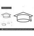 Graduation cap line icon vector image vector image
