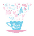 hand drawn cup coffee or tea on gentle vector image vector image