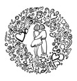 Hand-drawn love vector image