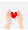 heart in hands symbol vector image vector image