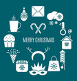 icons for christmas in circle vector image