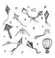 kites and aerostat hand drawn sketch vector image