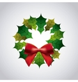 Leaves and Bowtie icon Merry Christmas design vector image vector image