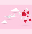 love invitation card valentines day airplane vector image