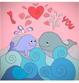 Lovers whales on a card for Valentines day vector image vector image