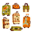 luggage bags suitcases and backpack for journey vector image