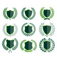 luxury green badges laurel wreath collection vector image vector image