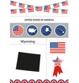 map of wyoming set of flat design icons vector image vector image