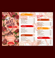 menu template for fresh meat restaurant vector image vector image