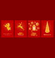 merry christmas and happy new year cards set vector image vector image