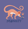 monkey flat hand drawn vector image