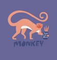 monkey flat hand drawn vector image vector image