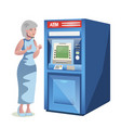 old woman character standing near the atm vector image vector image
