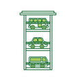parking building car bus van vehicle commercial vector image vector image