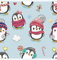 pattern with cute cartoon penguins vector image vector image
