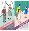 people with gifts isometric banners vector image vector image
