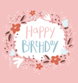 Pink floral birthday congratulation card vector image vector image