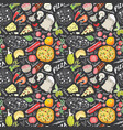pizza seamless pattern hand drawn sketch pizza vector image