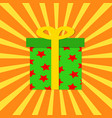 present in box decorated on pop art stripped vector image
