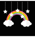 Rainbow and two clouds White stars hanging on dash vector image vector image