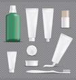 realistic dentifrices transparent background set vector image