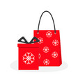 red gift box with ribbon bow paper shopping bag vector image