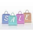 sale paper shopping bag with handles set isolated vector image
