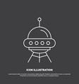 space ship space ship rocket alien icon line vector image