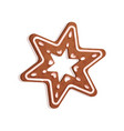 star shaped gingerbread cookie christmas symbol vector image vector image