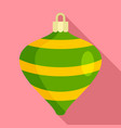 striped xmas toy icon flat style vector image vector image
