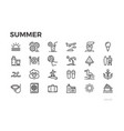 summer vacation icons sun sea tourism vector image