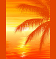 sunset in ocean with palm tree vector image