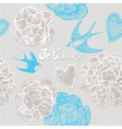 Valentines card Swallows and flowers Seamless patt vector image vector image