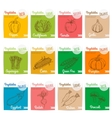 Vegetables sketch icons with names vector image