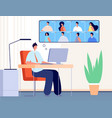 video conference internet business call online vector image vector image