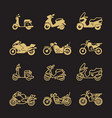 vintage motorbike and motorcycle icons set vector image vector image